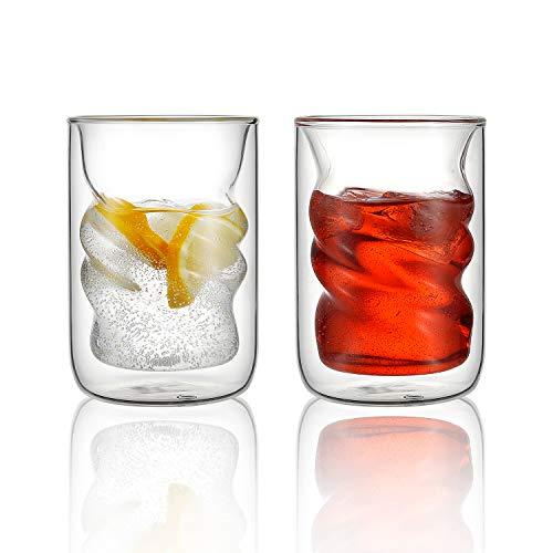 VEVOUK Isolierte Gläser, Kaffeetassen, 2er-Set, spiralförmig, doppelwandig, Thermo-Latte-Tassen, 240 ml, perfekt für Latte, Cappuccino und Getränke, Teetassen-Sets