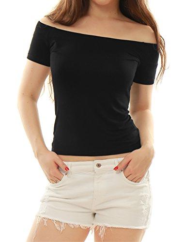 Allegra K Damen Kurzarm Slim Fit Off Shoulder Crop Top Bluse Schwarz S