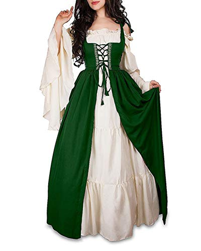 Damen Mittelalterliche Kleid mit Trompetenärmel Mittelalter Party Kostüm Maxikleid Grün S