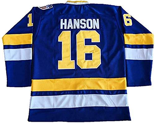 Hanson Brothers Jersey # 16# 17# 18 Charlestown Chiefs Jersey Eishockey Film Jersey Blau (Color : 16, Size : XXL)