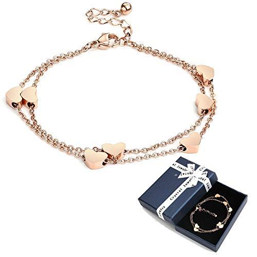 Crazy-m Rosegold Herzen Damen Armband Layered Armband mit Herz Anhängern Doppelt Kette Armband für Frauen Armkette Edelstahl Love Bracelet aus Titan