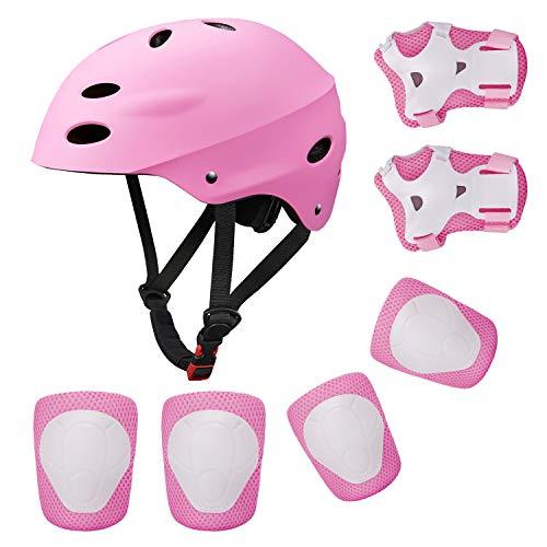 KUYOU Kinder Sport-Schutzausrüstung, 7PCS Knieschoner Ellenbogenschoner Handgelenkschutz Helm Schutzset zum Draußen Rollschuhlaufen Inline Skates Skateboarding Radfahren (rosa)