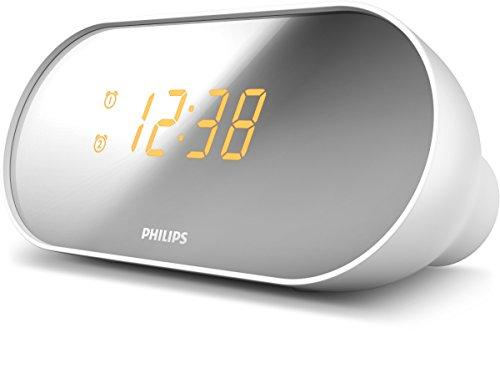 Philips Audio AJ2000/12 Radiowecker mit zwei Alarmen (Digitaler UKW Tuner, Weckwiederholung, Sleep Timer, LED Display, Helligkeit einstellbar) Weiß