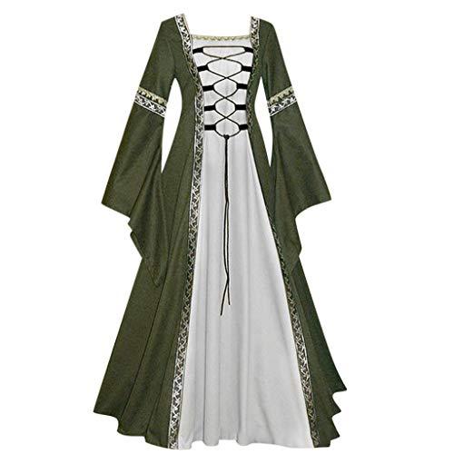 FRAUIT Damen Vintage Königliche Familie Kostüm Celtic Mittelalter Abendkleid Bankettkleid bodenlangen Renaissance Gothic Cosplay Kleid Halloween Oktoberfest Party Festival Kleidung (T-Grün, M)