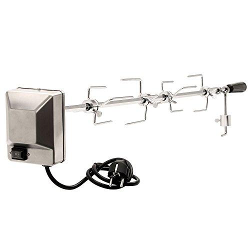 BBQ-Toro Grillspieß Set 100 cm inkl. 4X Fleischnadeln und Edelstahl Motor, 220V - 240V, Drehspieß, Rotisserie, elektrischer Drehspiess, universal Grillspiess