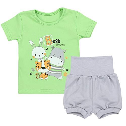 TupTam Baby Jungen Sommer Bekleidung T-Shirt Shorts Set, Farbe: Best Friends/Zartgrün/Grau, Größe: 80/86