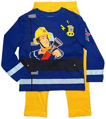 Feuerwehrmann Sam Schlafanzug Jungen Lang Pyjama (Blau-Gelb, 110-116)