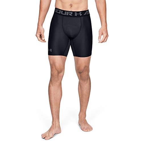 Under Armour Herren KompressionsHeatGear Armour halblange Kompressionshose, kurze Hose für Männer mit Kompressionspassform, Schwarz, L