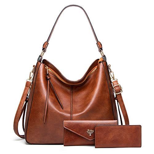 BestoU Handtasche Damen Schwarz Gross Leder Groß Tasche Umhängetasche Schultertasche Shopper Henkeltasche Damen Set Inklusive Geldbörse und Kartenpaket (Braun)