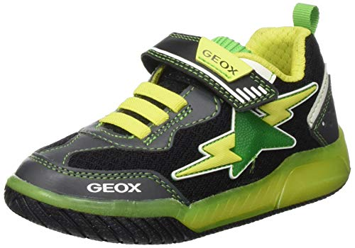 Geox Jungen J INEK Boy B Sneaker, Schwarz (Black/Lime C0802), 35 EU
