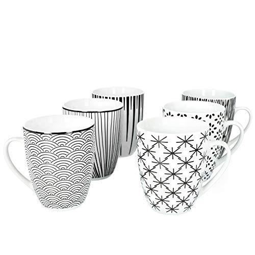 MamboCat Seoul 6er Kaffeebecher-Set I Steingut-Tassen schwarz-Weiss - 6X zeitlos Elegante Muster I Kaffeetassen-Set für 6 Personen - im Retro-Stil der 50er 60er I Kaffee-Tasse schwarz-weiß 6 Stück