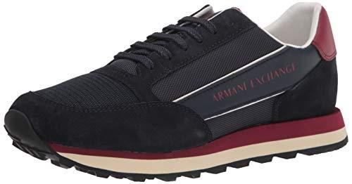 Armani Exchange Herren Suede Bicolor Sneakers Sneaker, Navy Bordeaux, 41 EU