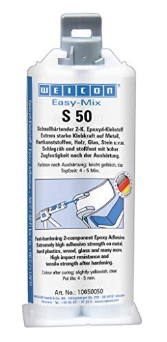 Weicon 10650050 S50 Easy-Mix S 50 Epoxyd-Klebstoff Zwei Komponentenkleber transparent, 50 ml