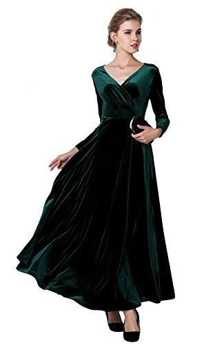 Urban GoCo, klassisches langes elastisches Damenkleid, Samt, V-Ausschnitt, lange Ärmel Gr. 48, grün