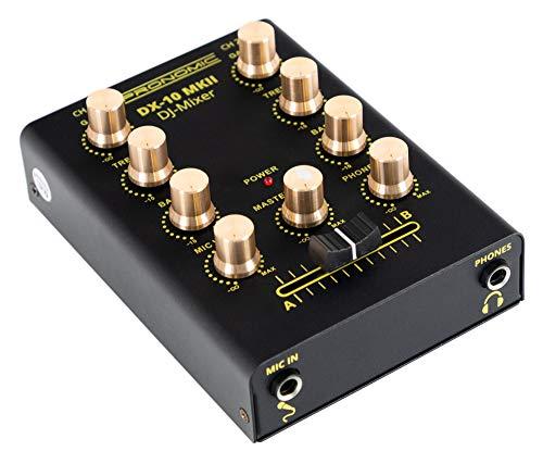 Pronomic DX-10 MKII DJ Mixer - kompakter 2-Kanal-DJ-Mixer mit zwei Line-Eingängen und 2-Band Equalizer - Mikrofoneingang mit separatem Laustärkeregler - Master- und Kopfhörer-Ausgang - schwarz