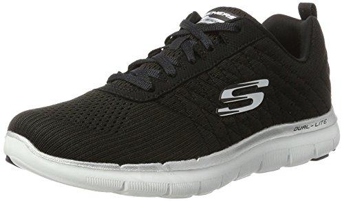 Skechers Flex Appeal 2.0-Break Free, Damen Outdoor Fitnessschuhe, Schwarz (Black/White), 41 EU(Herstellergröße: 8 UK)
