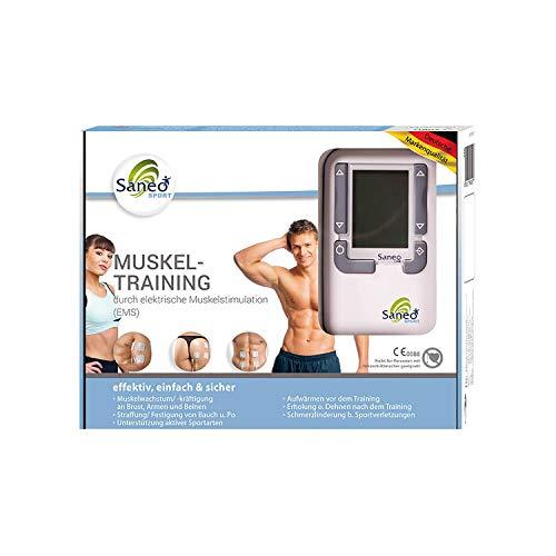 SaneoSPORT Muskeltraining elektrischer EMS TENS Muskelstimulator für Muskelaufbau am gesamten Körper | deutsche Markenqualität