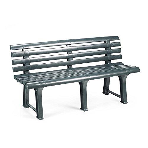 Mojawo Exclusive Gartenbank | 3 Sitzer | Kunststoff | strapazierfähig | 145x49x74 cm | Parkbank Bank Balkonbank Gartenmöbel | grün