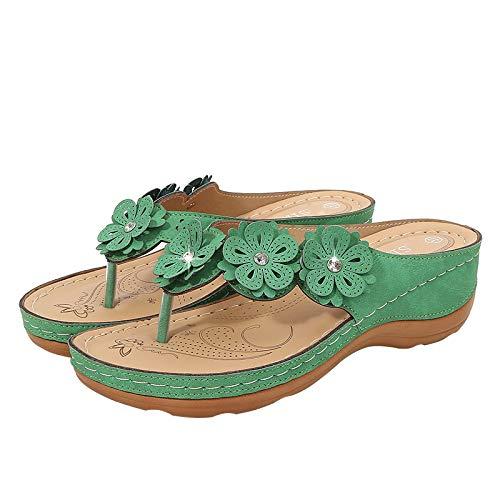 Grüne Einfarbige Dicke Untere Clip Füße Damen Hausschuhe Frauen Strand Lässige Sandalen Frauen Sandalen Keilabsatz Frauen Schuhe