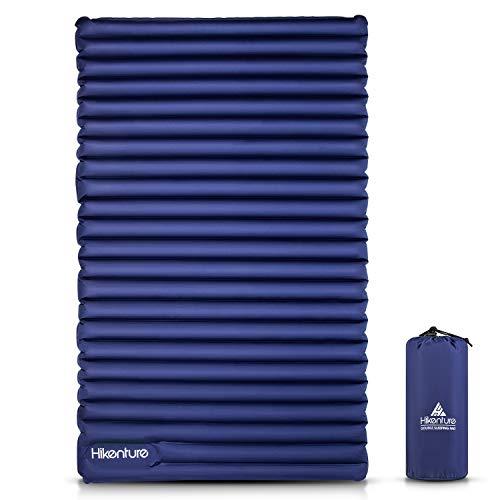 Camping Isomatte Ultraleicht von HIKENTURE, Doppel Isomatte Aufblasbar für 2 Personen, Luftmatratze Schlafmatte Kleines Packmaß mit Fußpumpe, für Camping, Reise, Outdoor, Wandern, Strand, Navyblau