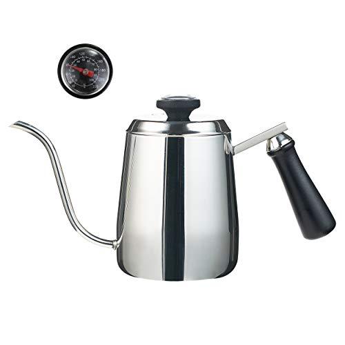 MeelioCafe Kaffeekessel mit thermometer, Handheld Edelstahl Schwanenhals-Ausguss Kaffeekanne, Wasserkocher klein 0,35 liter, Tropfwasserkocher - Kaffee, Tee, kaffee filtern von hand 1-2 tasse