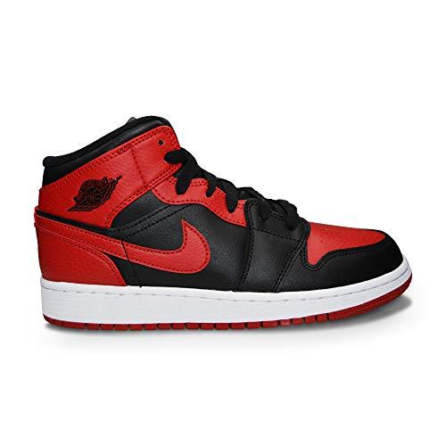 Nike AIR Jordan 1 MID (GS) Basketballschuh, Black Gym Red White, 36 EU