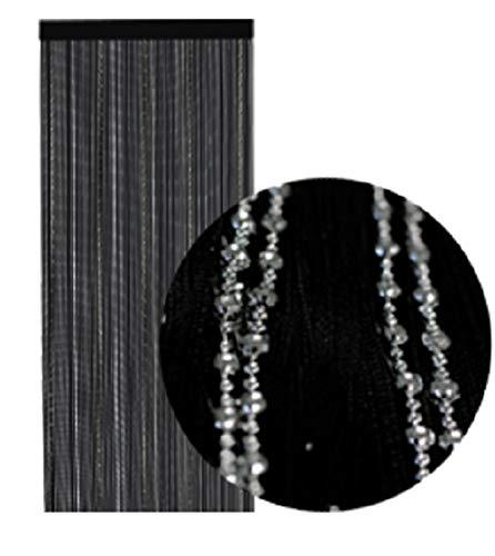 wometo Fadenvorhang Türvorhang Perlen 90x245 cm Silber - schwarz Stangendurchzug kürzbar glänzend elegant edel
