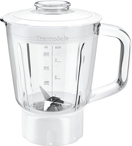 Bosch Hausgeräte MUZ45MX1 ThermoSafe Mixer-Aufsatz (Glas-Behälter, mit Edelstahl-Messer), Weiß