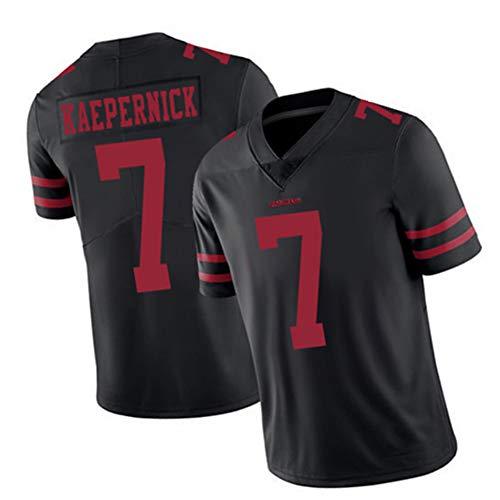 Colin Kaepernick 7# San Francisco 49ers Rugby-Trikot Herren, America Football Trikot, Kurzarm für Männer Jugend- und Rugby-Fans Trikot, bequem und atmungsaktiv.-Black A-L