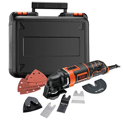 Black+Decker Multifunktionsgerät MT300KA zum Schneiden, Schleifen, Entfernen, Schaben – Mit Adapter für Universalzubehör anderer Hersteller & umfangreichem Zubehör – Zubehörwechsel auf Knopfdruck
