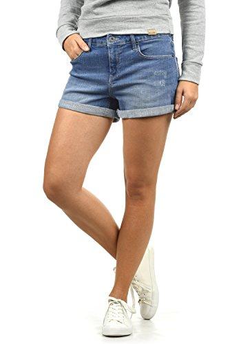 BlendShe Andreja Damen Jeans Shorts Kurze Denim Hose Mit Destroyed-Optik Aus Stretch-Material Skinny Fit, Größe:M, Farbe:Light Blue Denim (29030)