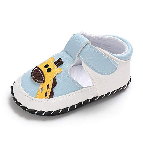 Geagodelia Baby Sandalen Weicher Lauflernschuhe Hausschuhe für Kleinkind Mädchen Junge mit Süß Cartoon Tiere Muster (6-12 Monate, Giraffe-Hellblau)