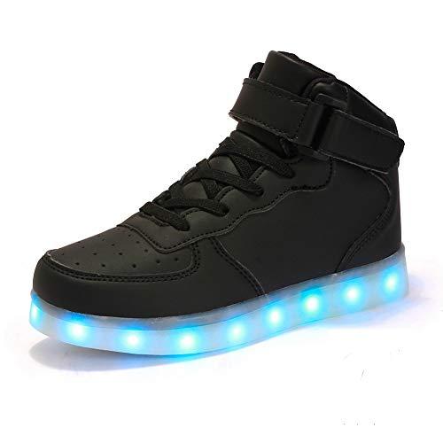 FLARUT Hoch Oben USB Aufladen LED Leuchtend Leuchtschuhe Blinkschuhe Sport Schuhe für Jungen Mädchen Kinder(36 EU,Schwarz)