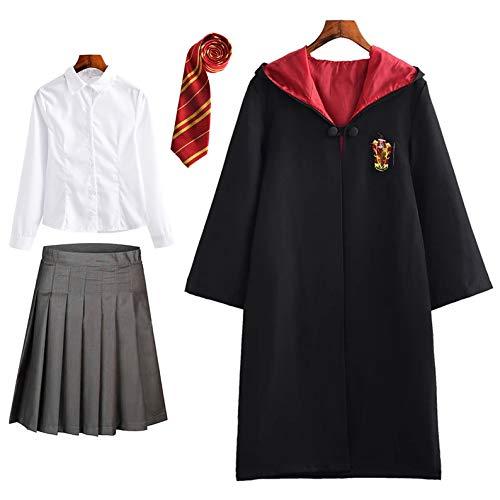 FStory&Winyee Harry Potter Kostüm Kinder Erwachsene Umhang Unisex Gryffindor Hufflepuff Ravenclaw Slytherin Outfit Set Cape,Krawatte,Hemd,Rock/Hose Fasching