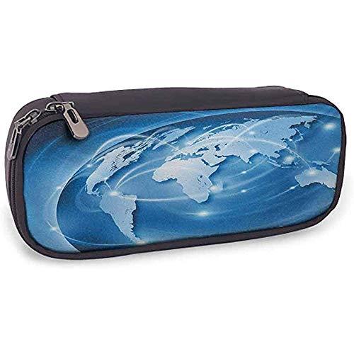 Bedruckte Bleistiftbeutel-Welt mit Fach Connected World-Konzept Informationen zu Business Commerce Network Corporation Blau Hellblau Weiß