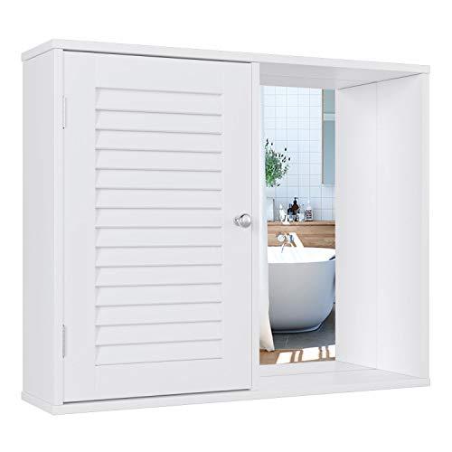 Homfa Spiegelschrank Badezimmerspiegel Hängeschrank Wandspiegel Hängespigel Badezimmerschrank Spiegel mit Tür Weiß 60x14.5x49cm