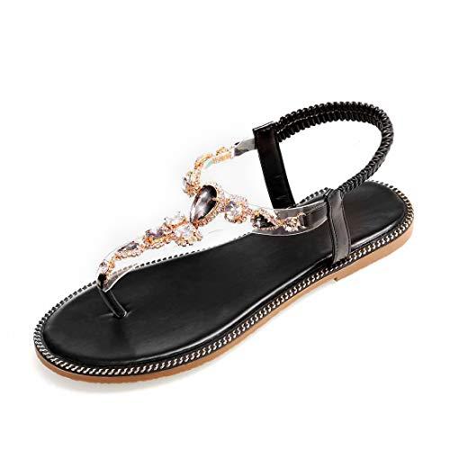 APTRO Damen Sandalen Sommer Schuhe Strandschuhe Flach Zehentrenner Sandalen Schwarz 40