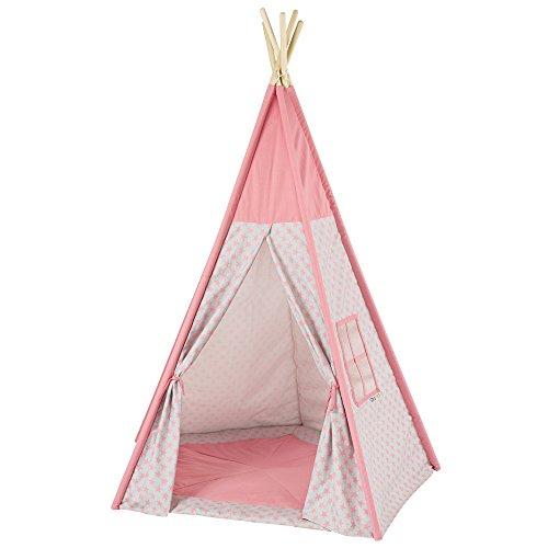 Howa Tipi Zelt Sterne rosa / grau incl. Bodenmatte, 185 hoch