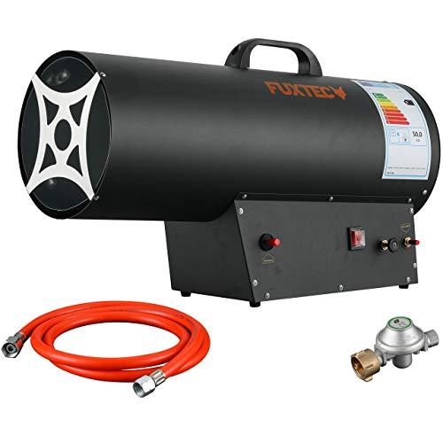 FUXTEC Gasheizgebläse FX-GH51 Gas Heizgerät Piezo-Zündung mit Verbindungschlauch & Druckminderer Heizleistung bis 50 kW, 650 m³/h Luftdurchsatz,inkl Überhitzungsschutz, für handelsübliche Gasflaschen