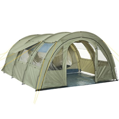 CampFeuer Tunnelzelt Multi Zelt für 4 Personen | riesiger Vorraum, 5000 mm Wassersäule | mit Bodenplane und versetzbarer Vorderwand | Campingzelt Familienzelt (olivgrün)