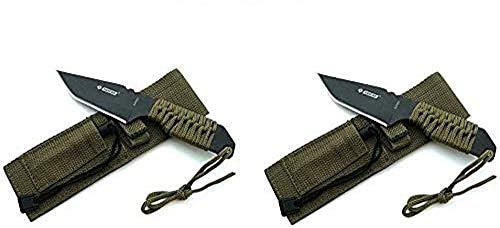 KS-11 2er Set Taktisches Survival Messer mit Feuerstein/Zündstein/Holster/Fallschirmleine für Outdoor Camping Jagd/Angeln als Hunting Knife Fahrtenmesser – Klingenlänge 10 cm