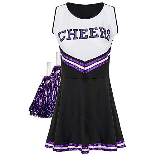 Sakurio Damen Cheerleader Outfit American Musical Sport High School Halloween Cheer Girl Kostüm mit Pom Poms