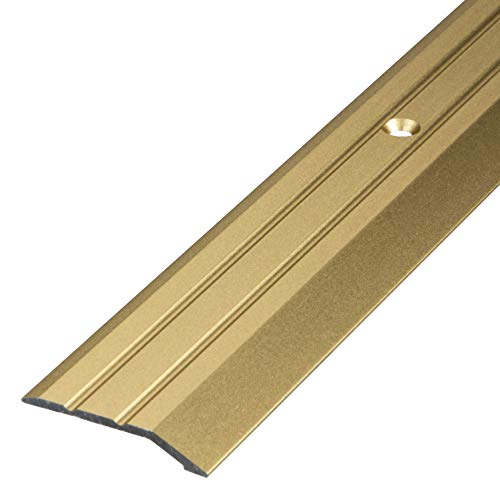 Gedotec Aluminium Übergangsprofil gelocht Abschlussprofil Alu | Fuß-Boden-Leiste höhen-ausgleich | Ausgleichsprofil Messing eloxiert | Abdeckleiste 100 cm | 1 Stück - Übergangsschiene zum Schrauben