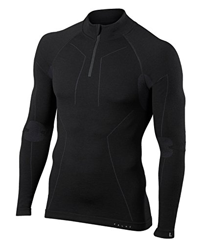 FALKE Herren, Langarmshirt Wool Tech. Merinowollmischung, 1 er Pack, Schwarz (Black 3000), Größe: L