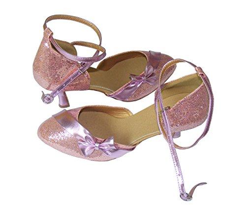 Pobfashion Moderne Tanzschuhe Damen mit rosa Glitzer und glänzender Schleife