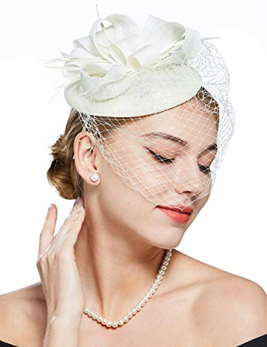 BABEYOND Feder Fascinators Hut Damen Blumen Schleife Mesh Hochzeit Braut Elegant Fascinator Haarreif Cocktail Tee Party Damen Fasching Kostüm Accessoires (Weiß)