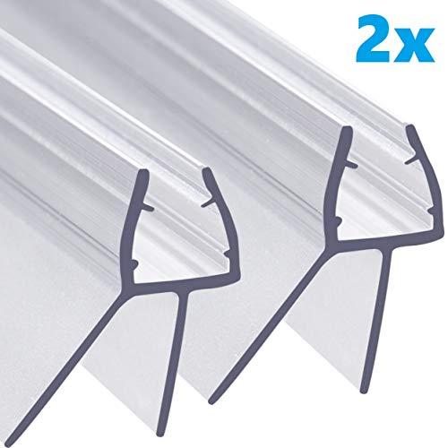 AULETT Premium Qualität Duschdichtung 2x 100 cm für Duschtür und Duschkabinen Dichtung für 6mm, 7mm und 8mm Dusche Glastür - Gummilippe, Duschlippe mit Wasserabweiser für Duschwand