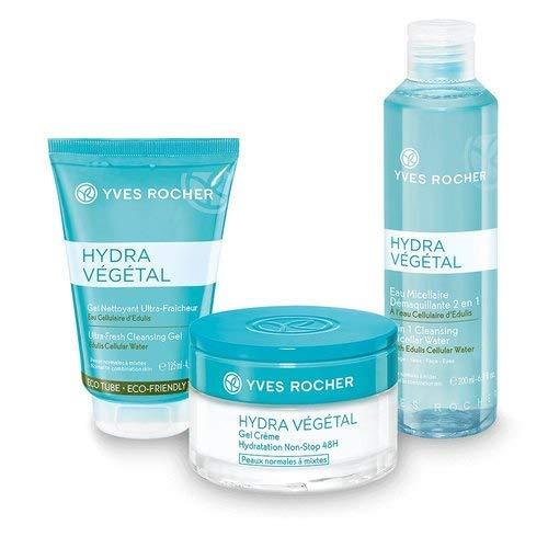 Yves Rocher HYDRA VÉGÉTAL Pflege-Set, Geschenk-Set für Frauen mit normaler Haut, mit Eau Micellaire 2in1, Reinigungsgel & Feuchtigkeits-Creme, Beauty Geschenkidee für Frauen