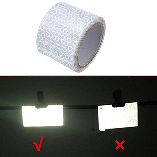Tuqiang® Klebeband Warnklebeband Reflektorband Sicherheit Markierung Band 5cm×3m Silber weiss