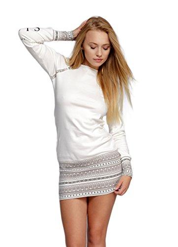 SENSIS edles und hochwertiges Baumwoll-Nachthemd Sleepshirt - Made in EU (M (38), Ecru Norweg)